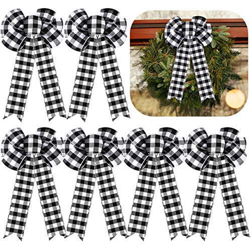 Nuanchu 6 Pieces 8 Inch Plaid Bow Black and White Large Buffalo Check Fall Christmas Tree Wreath Bow for Thanksgiving Basket Party Yard Decoration