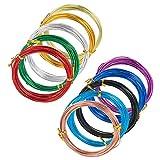 Elite アーティスティックワイヤー 1.5mm ミックス 10巻セット カラー アルミワイヤー Aluminum Wire ワイヤー クラフト 材料 ビーズ手芸 副資材 混合色 6m/巻き