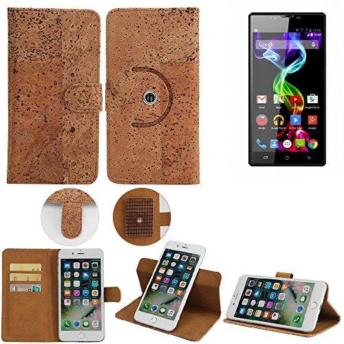 K-S-Trade® Schutz Hülle Für Archos 55 Platinum Handyhülle Kork Handy Tasche Korkhülle Schutzhülle Handytasche Wallet Case Walletcase Flip Cover Smartphone Handyhülle