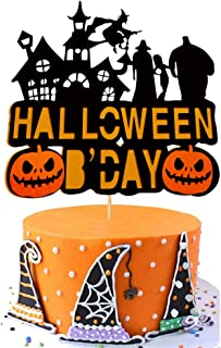 Halloween Birthday Cake Topper Pumpkin Haunted House Ghost Witch Theme Party Cake Supplies Decorations