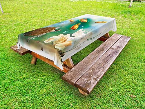 ABAKUHAUS Schildpad Tafelkleed voor Buitengebruik, aquarium Dieren, Decoratief Wasbaar Tafelkleed voor Picknicktafel, 58 x 104 cm, Veelkleurig