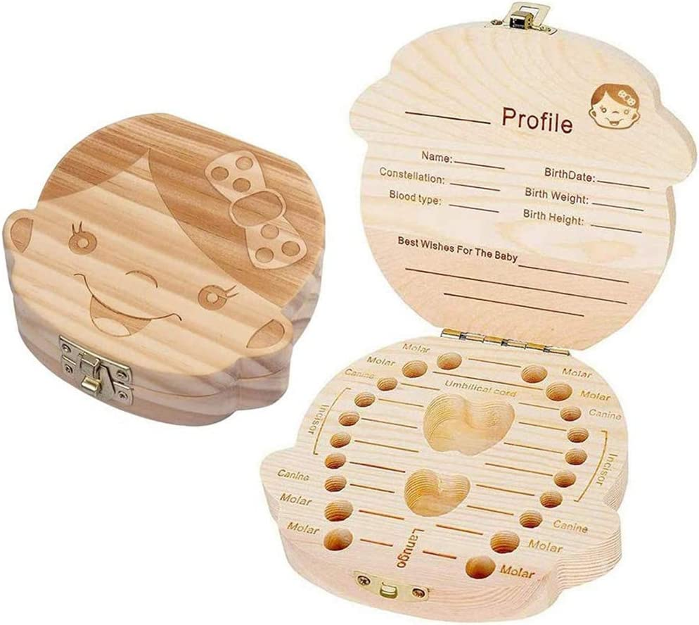 Caja de dientes para-caja de dientes de leche de beb/é de madera maciza caja de recuerdo boy el mejor regalo para beb/és caja de recolecci/ón de p/érdida de dientes de leche de ni/ño//ni/ña