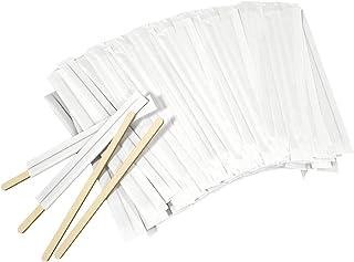 Amkoskr 1000Pcs Disposable Wood Coffee Stir Sticks Stirrers Individually Paper Wrapped Coffee Tea Beverage Stirrers Stirrings 5.5 Inch,140mm