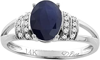 14K Gold Natural Blue Sapphire Ring Oval 8x6 mm Diamond Accents, sizes 5 - 10