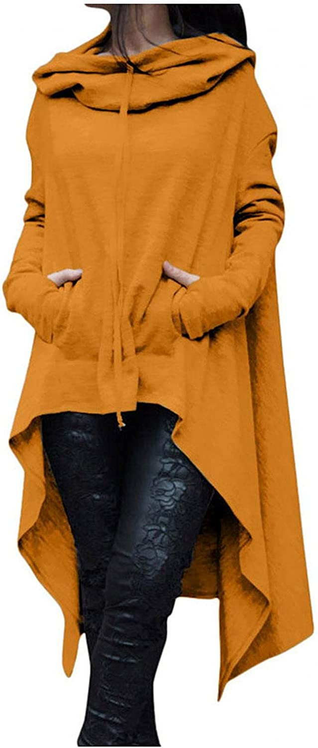 Xinantime Women Cloak Costume with Hood Irregular Hem High Low Sweater Plus Size Vintage Solid Color Blouse Winter Jumper