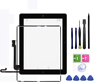 IPad 4 Touch Screen Glass Digitizer Replacement Assembly Includes Home Buttom + Camera Holder + Frame Bezel + Preinstalled Adhesive + Premium Repair Toolkit by FeiyueTech(Black)