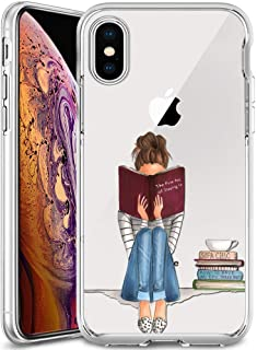 iPhone Xs Max Case,Slim Fit Shell Soft Thin Mobile Phone Clear Case with Non Slip Matte Surface Protective Clear case for iPhone Xs Max 2018 6.5inch-Girl Book