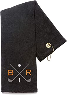 Lifetime Creations Monogrammed Golf Towel - Embroidered Personalized Golf Towel with Initials and Golf Clubs, Groomsman Golf Towel