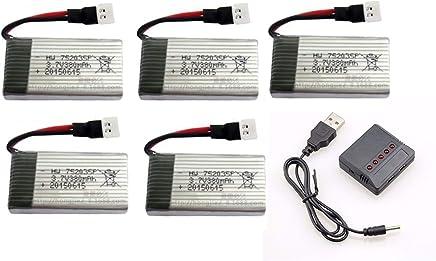 kit 5 Bateria 380mah 3.7v e 1 carregador 5x1Para Drone Hubsan X4 H107 E Fq777 Ml212 e similares