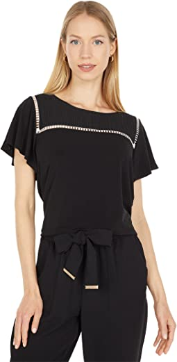 Short Sleeve Blouse with Stitching Detail