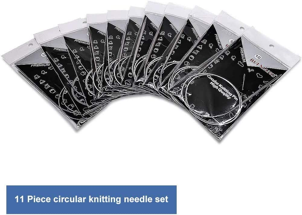 Different Sizes 1.5mm to 5.0mm 65CM Circular Knitting Needles Set Beginners 43//65//80cm 11pcs Circular Knitting Needles Set