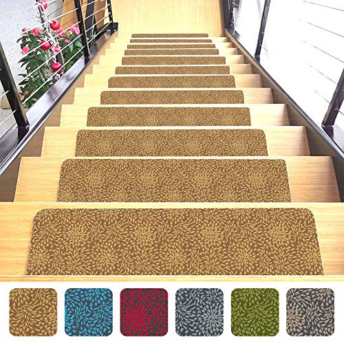 "Shape28 Stair Treads Ultra-Thin with Non Slip Rubber Backing 9""x26"", Mocha 7 Pieces"