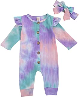 suomate Baby Bodysuit Long Sleeve Tie-dye Print Romper Newborn Onesie for Infant Baby Girls Boys