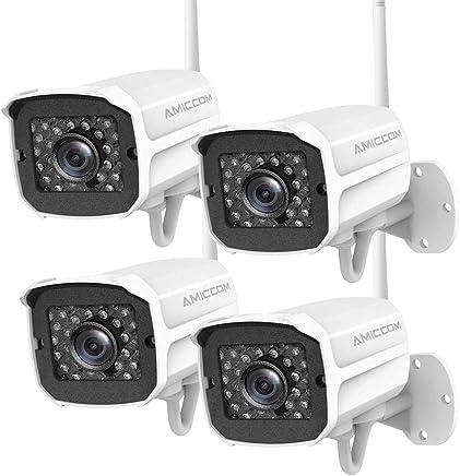 Outdoor Security Camera (4 Pack), 1080p IP Cam 2.4G IP66...