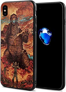 Phone Case Compatible with iPhone X/iPhone Xs Godzilla Cataclysm Giant Dinosaur King of The Monsters Fan Art for Unisex Teens, Thin Cute Soft TPU + PC Bumper Shock Absorption Full Protective Case