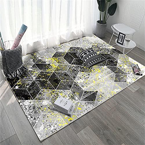 A Prueba De Polvo Alfombra baño Patrón Fantasma geométrico 3D Negro Gris Blanco Amarillo Alfombra Dormitorio Infantil 180X250cm
