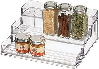 Grigio Scuro Porta spezie su 3 Livelli Pepe e aromi Organizer allungabile per barattoli e contenitori di Sale mDesign Ripiano per spezie espandibile