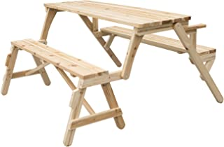 wood folding garden picnic table and bench 2 in 1