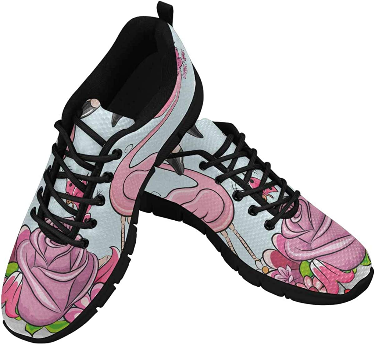 INTERESTPRINT Cartoon Flamingo Flowers Women's Sneaker Lace Up Running Comfort Sports Shoes