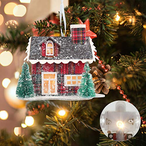 Christmas Hanging Ornament Village Story House Lit House - Christmas LED Light Up Corrugated Cardboard House - Xmas Tree Holiday Seasonal Décor Gift Home Party Décor