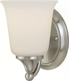 Feiss VS10501-BS Claridge Glass Wall Vanity Bath Sconce Lighting, Satin Nickel, 1-Light (5