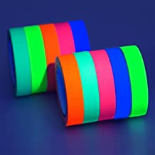 GIGALUMI 10-Pack UV Blacklight Reactive Glow in The Dark Tape, Fluorescent/Neon Gaffer Tape (.5 in x 16.5 feet)