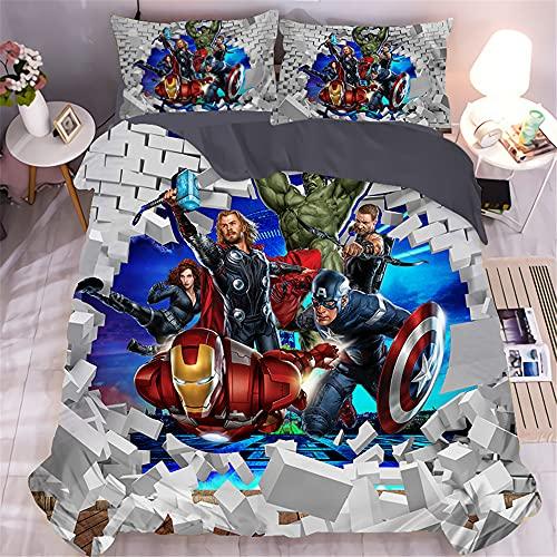 Amacigana Capitán América Marvel Comics - Juego de funda nórdica 3D de 3 piezas de fibra de poliéster, suave y cómoda, en tamaño completo para todas las estaciones (A10,200 x 200 cm)