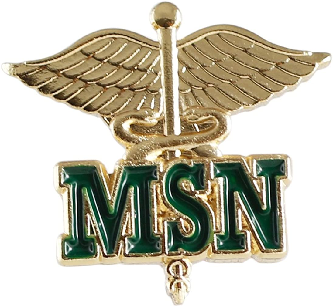 WizardPins MSN Letters on Caduceus Emblem Pin (Masters of Science in Nursing) (1 Piece)
