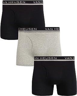 Men's Underwear - Cotton Boxer Briefs with Functional Fly...