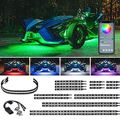 LEDGlow 20pc Bluetooth Advanced Million Color LED Accent Underlow Lighting Kit for Polaris Slingshot - Smartphone App - Dual Zone & Brake Lights Feature - Waterproof Control Box - Flexible Strips