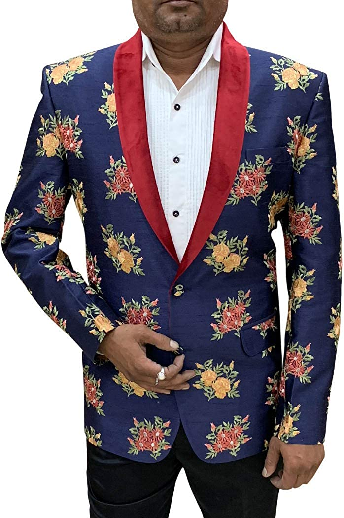 INMONARCH Embroidered Slim fit Dark Navy Shawl Collar Sport Jacket Coat Blazer SBM1075