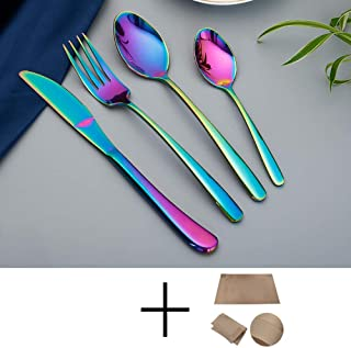 Set de Cubiertos de 24 Piezas, Acero Inoxidable 304 Cubiertos Cuchillo Tenedor Cuchara Set Color sólido para Oficina/Restaurante/Hotel/Fiesta-Arco Iris