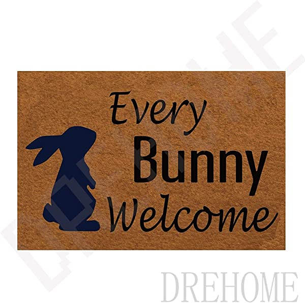 Drehome Every Bunny Welcome Monogram Doormat Non Slip Floor Mat Indoor Entrance Rug Decor Door Mat 23 6x15 7 Inches