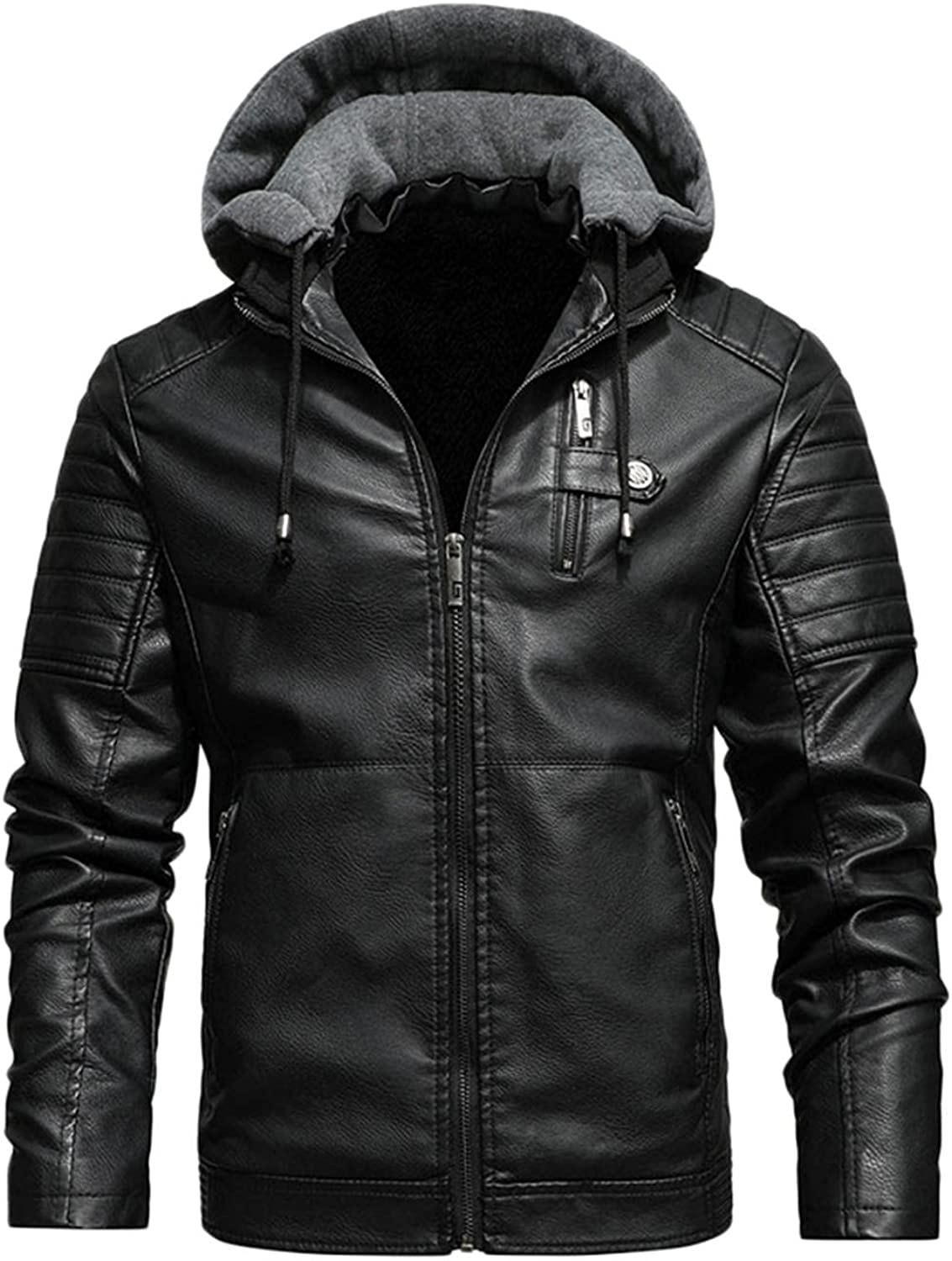LEIYAN Mens Hooded Faux Leather Jacket Zip Up Long Sleeve Stand Collar Casual Lightweight Motorcycle Bomber Jacket