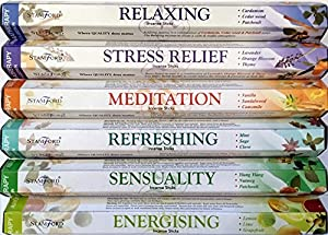 120 Sticks of Stamford Premium Aromatherapy Hex Range Incense Sticks - Relaxing, Stress Relief, Meditation, Refreshing, Sensuality & Energising Incense Gift Pack. by Stamford