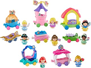 Fisher-Price Little People Disney Princess Magical Parade, Includes Cinderella, Ariel, Snow White, Belle, Aurora, Rapunzel & Tiana with Their Unique Individual Carriages, Help Develop Children's Fine