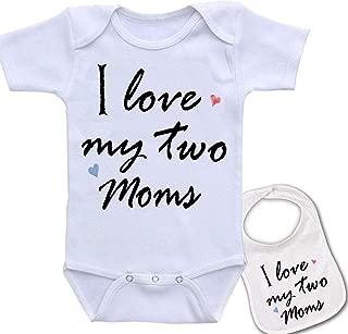 I Love My Two Moms Custom Boutique Baby Bodysuit Onesie & Matching bib Set