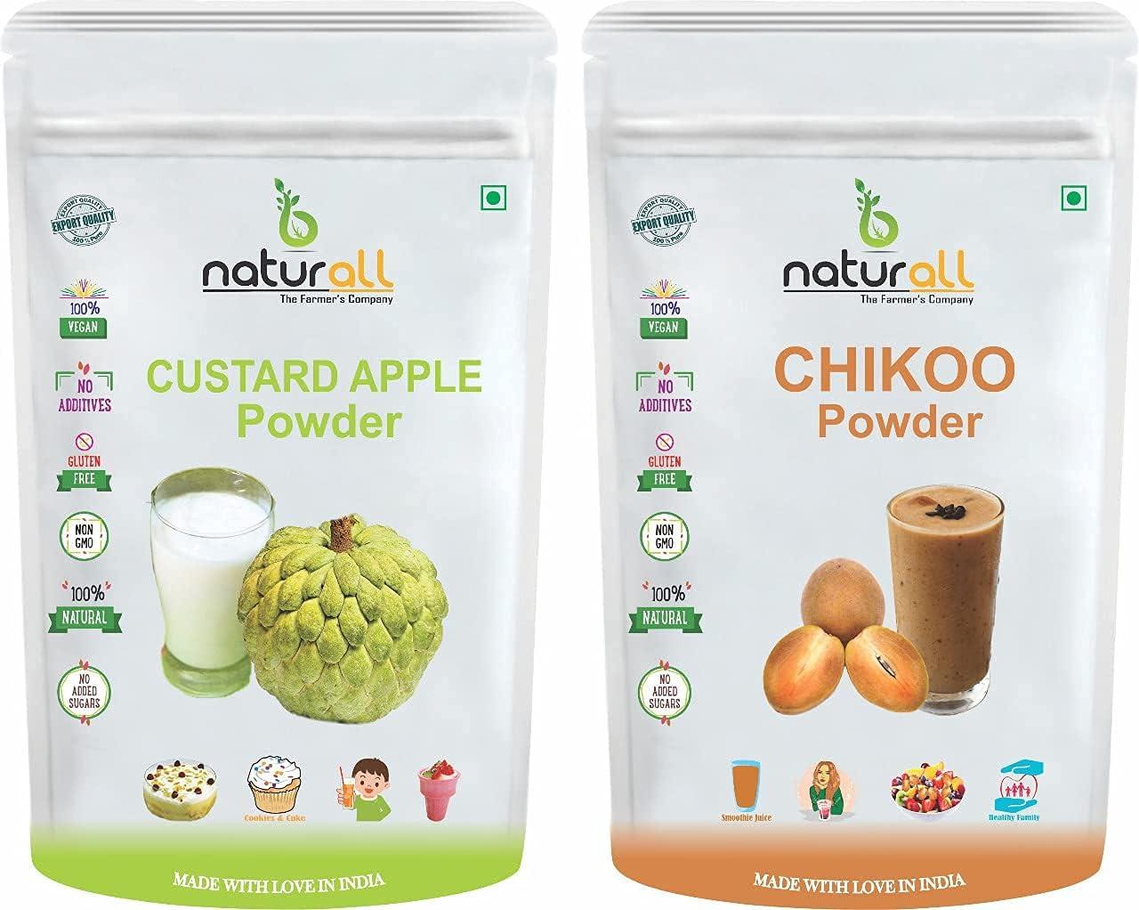 Bluenile B Naturall Fruit Pack of 2 Chikoo Powder, Custard Apple