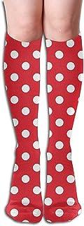 Calcetines de lunares rojos blancos Calcetines largos hasta el muslo Calcetines largos hasta la rodilla 50 cm para mujeres niñas