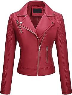 Hashoob Ladies Polyurethan Leather Jacket Women Jacket (VR-MEHROON, S)