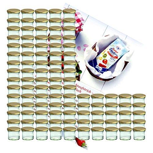 MamboCat 100er Set Sturzglas 125 ml Marmeladenglas Einmachglas Einweckglas to 66 Goldener Deckel incl. Diamant-Zucker Gelierzauber Rezeptheft