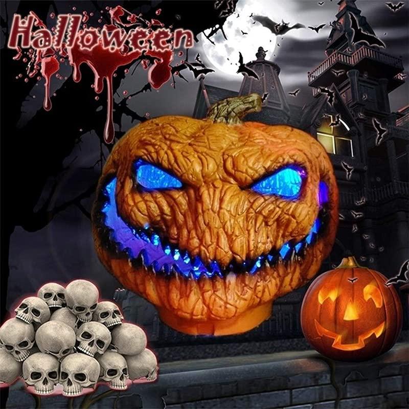 IUnisy Scary Halloween Series Halloween Pumpkin Lamp Portable Handheld LED Scary Ghost Pumpkin Lamp Lantern Halloween Decoration