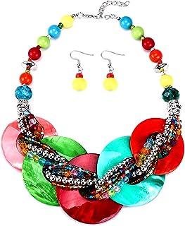 Zhouba - Set di collane da donna, alla moda, multicolore, con perline, bavaglino e gancio, orecchini