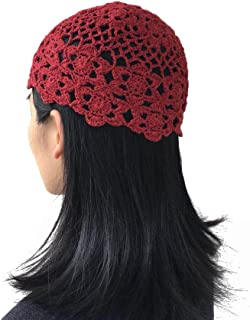 Hats for Women Handmade Beanie Crochet Knit Kufi Hat Flower Skull Cap Hair Accessories 100% Handmade