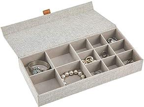 mDesign boite à bijoux – boite de rangement pour bijoux avec 13 compartiments de 2 tailles différentes en tissu – rangemen...