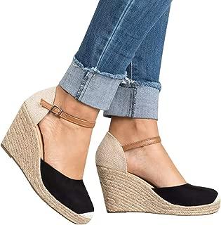 Womens Wedge Espadrille Platform Sandals Closed Toe Ankle Strap Slingback High Heels Sandals
