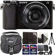 Sony Alpha A6000 Mirrorless Black Digital Camera + 48GB Memory Card + Card Holder + Camera Case + 3pc Cleaning Kit + Mini Tripod