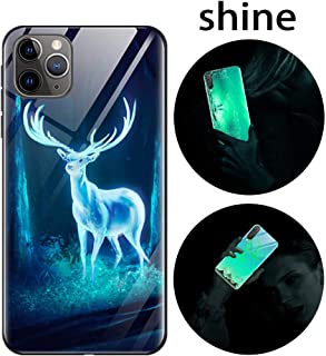 Leton-US iPhone 11 Pro Case Silicone Luminous Noctilucent 9H Tempered Glass Back Cover Soft Slim TPU Bumper Shockproof Phone Case Cover for iPhone 11 Pro Glow in Dark Elk