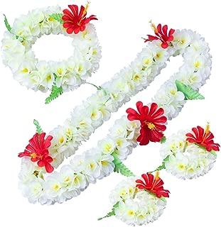 LAYSERI Hawaiian Luau Flower Leis Jumbo Necklace Bracelets Headband Set Mahalo Floral Leis (White)