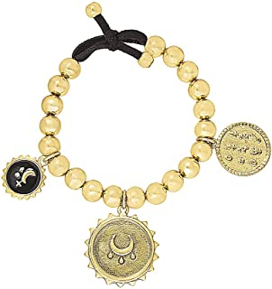 Steve Madden Yellow Gold Tone Beaded and Black Moon Charm Bangle Bracelet For Women (SMB499162GD), one size
